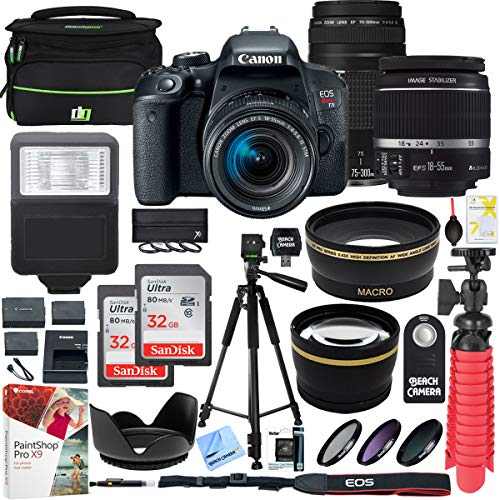 Canon EOS Rebel T7i DSLR Camera with EF-S 18-55mm is STM & Canon 75-300mm Lens + 2X 32GB Ultra SDHC UHS Class 10 Memory Card + Accessory Bundle from Canon