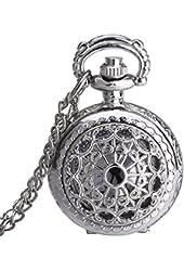 Mudder Hollow Silver Pocket Watch for Women