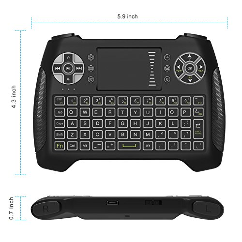Mini Wireless Keyboard With Touchpad, Vive Comb 2.4G Rechargeable Backlit Handheld Remote Control Keyboard and Mouse Combo with Multimedia Keys for Android TV Box, PC, PAD, Smart TV, X-BOX, HTPC by vive comb (Image #2)