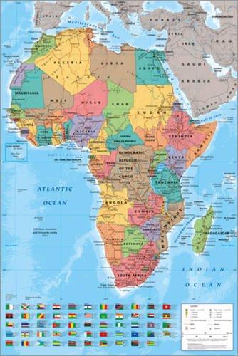 Afrika Karte Deutsch.Poster 61 X 91 5 Cm Afrika Karte