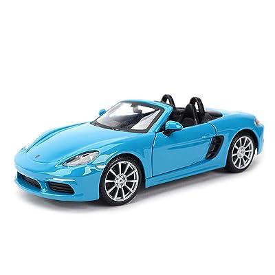 XXHDYR Modèle de Voiture 1:24 Porsche 718 Boxster Simulation en Alliage de Moulage sous Pression Jouet Ornements Collection de Voitures de Sport Bijoux 18.5x8x4.6CM (Color : Blue) Cuisine & Maison