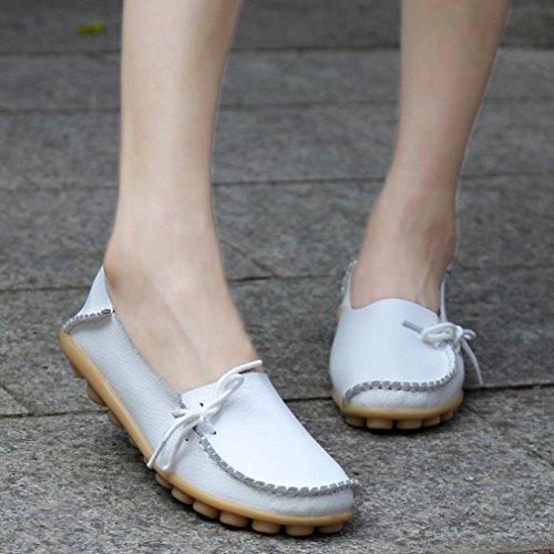 Elevin (tm) Nye Kvinner Mote Fritid Skinn Loafers Flats Blonder-up Erter Moccasin Gommino Sklisikre Sko Hvit