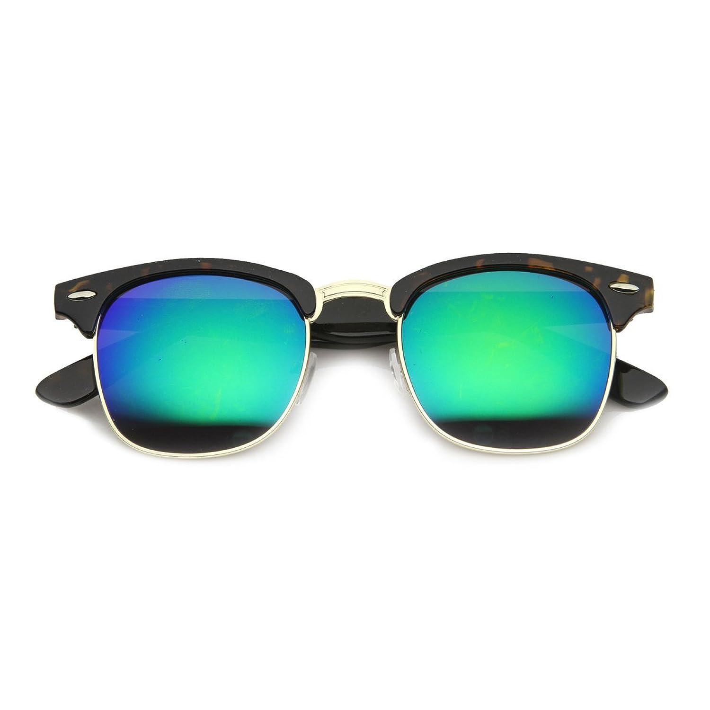 Kuss ®-CLUBMASTER Hipster REVO-Damen Herren Unisex: VINTAGE Kult Sonnenbrille - SCHWARZ / rot RqaSBbKV