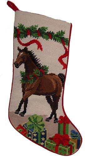horse christmas stocking 100 wool hand stiched needlpoint precious - Horse Christmas