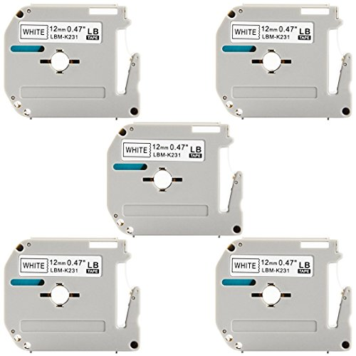 231 Light (M-K231 M231 Label Tape, LaBold 5 Pack Black on White Non-laminated M Tape M-231 MK231 M 231 for Brother P-Touch Labeler 12mm (0.47