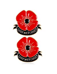 2 Pcs Lest We Forget Red Enamel Poppy Flower Brooch Broach Remembrance Memorial Day Jewelry