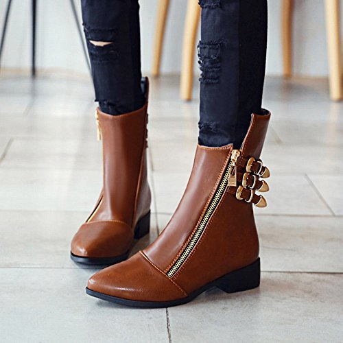 Carolbar Womens Pointed Teen Neutrale Retro Multi Buckle Zip Lage Hak Korte Laarzen Bruin