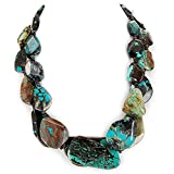 003 Ny6Design 2 Strands Turquoise Nugget Beads Necklace w/Silver Plated Toggle 19