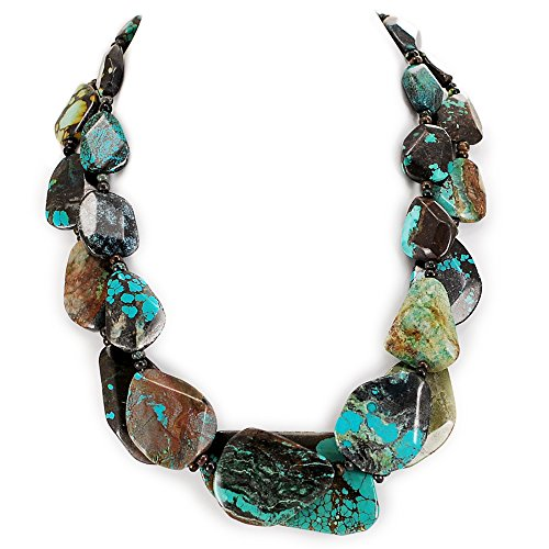 (003 Ny6Design 2 Strands Turquoise Nugget Beads Necklace w/Silver Plated Toggle 19