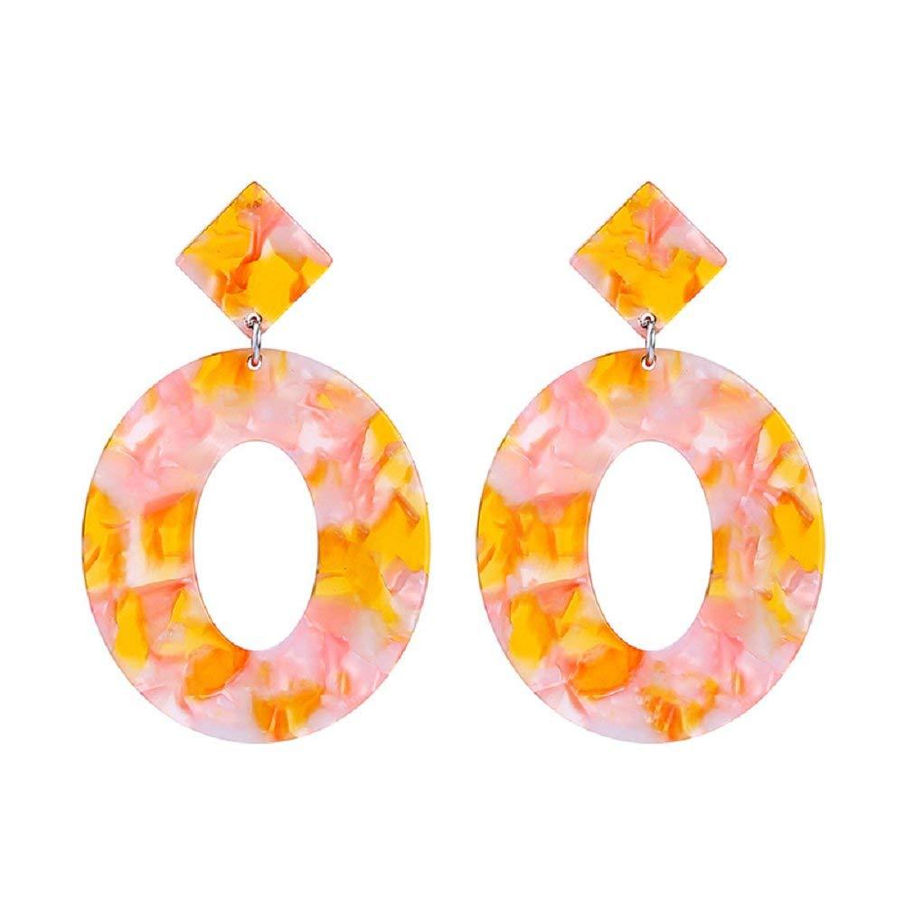 ELFTUNE Acrylic Round Earrings Resin Circle Hoop Earrings for Girls and Ladies