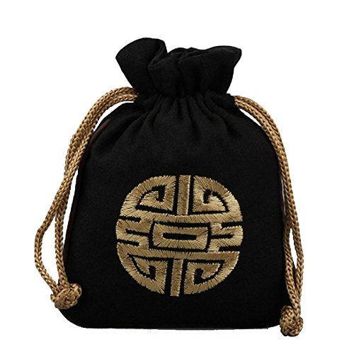 Zarachilable Chinese Silk Brocade Embroidered Drawstring Jewelry Pouch Bag Colors Value (5, -