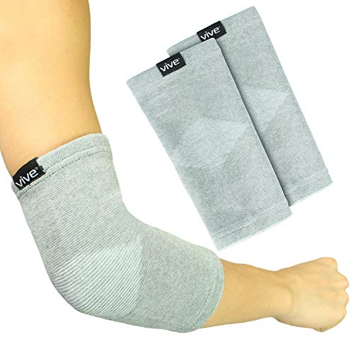Vive Elbow Sleeve (Pair) - Bamboo Charcoal Compression Support Brace for Tendonitis Prevention, Recovery, Joint Pain Relief - For Golfers,Tennis, Weightlifting, Basketball, Sports - Men, Women (Gray)