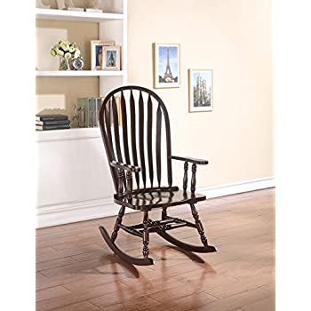 Rocking Rocker Wood Chair With Vertical Back In Espresso Finish
