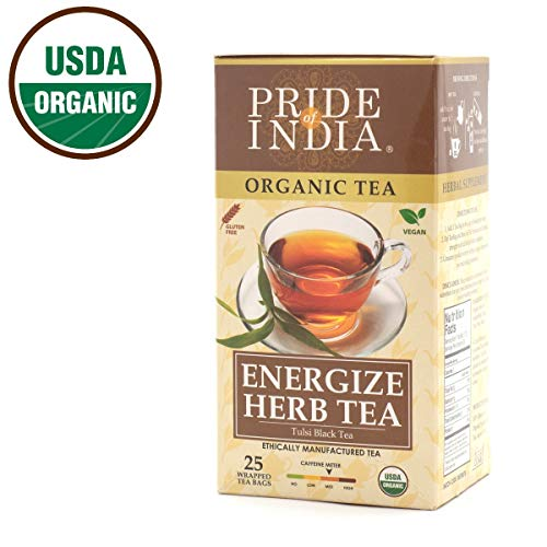 Pride Of India - Organic Energize Herb Tea - 25 Count, 6-Pack (150 Tea Bags @ $0.16 per Bag) - Perfect blend of Tulsi Holy Basil & Assam Black Tea, Strong Boosting Flavor, Great Value, Med Caffeine