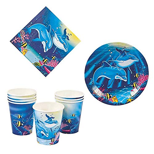 Dolphin Party Kit - Birthday Party Supplies Set Dolphin Theme Dinner Plates and Napkins and Cups]()