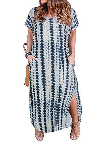 Nemidor Women's Casual Loose Pocket Long Dress Short Sleeve Plus Size Slit Maxi Dress (24W, Tie-dyed)