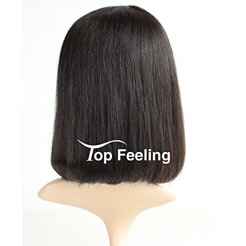 Brazilian Short Lace Front Wigs Human Hair Bob Wigs for Black Women Natural Color Silky Straight Hair Wigs with Bangs TopFeeling by Top Feeling (Image #3)