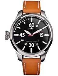 Chotovelli Aviator Pilot Mens Watch Black dial Italian Tan leather Strap 52.01
