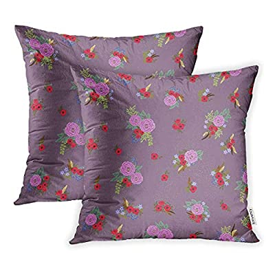 Emvency Pack of 2 Throw Pillow Covers Print Polyester Zippered Feathers Antique Roses in Folk Bohemian for Fabrics Floral Boho Chic Pillowcase 16x16 Square Decor for Home Bed Couch Sofa