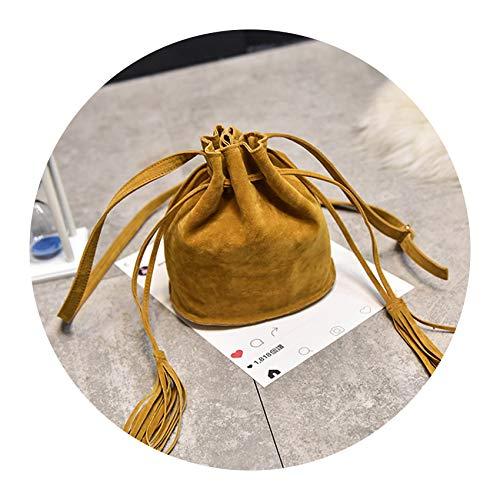 (Faux Suede Crossbody Bag Women Tassel Drawstring Bucket Bag Retro Shoulder Messenger Bags,Yellow)