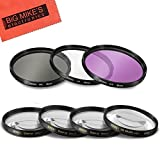 55mm Multi-Coated 7 Piece Filter Set Includes 3 PC Filter Kit (UV-CPL-FLD-) And 4 PC Close Up Filter Set (+1+2+4+10) For Sony Alpha SLT-A33, A35, A55, A58, A65, A77, A99, A3000, A5000, A5100, A6000, DSLR330L, A7, A7II, A7R, A7S, NEX-5T, NEX-6, NEX-7K, NEX-3N, NEX-F3 Digital SLR Cameras Which Has Any Of These Sony Lenses 16-70mm, 18-55mm A-Mount, 18-70mm, 28-70mm, 55-200mm, 35mm f/1.4G A-MOUNT, 35mm f/1.8 A-MOUNT, 50mm f/1.4, 50mm f/2.8, 85mm f/2.8, 100mm f/2.8