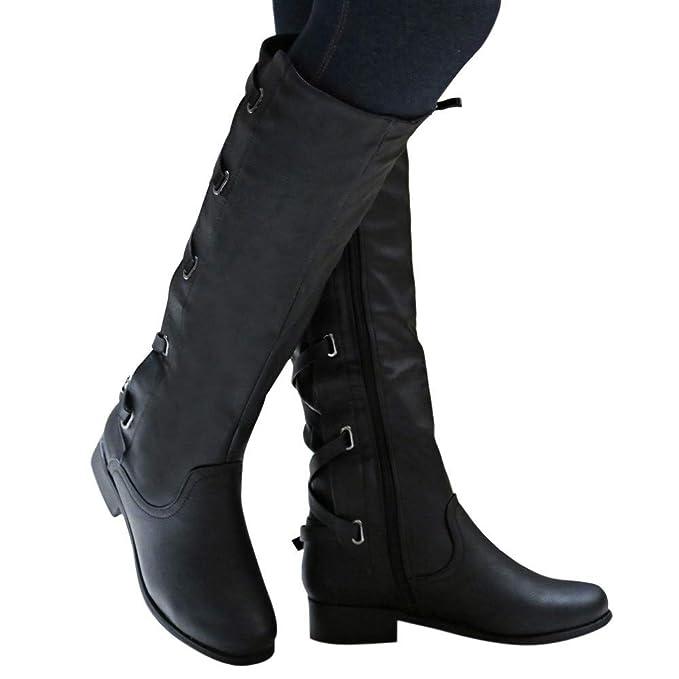b7b997b5ada52 Amazon.com: Baigoods Women's Shoes Buckle Roman Riding Knee High ...