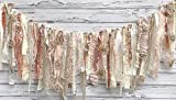 Rose Gold Champagne Shabby Chic Rag Tie Garland: ~ Photo Shoot ~ Wedding ~ Birthday ~ Nursery ~ Baby Shower ~ Highchair ~ Gender Reveal ~ Decorations ~ Wall Decor! (10 FEET WIDE)