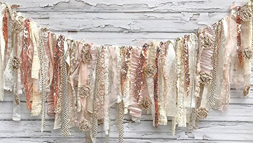 Rose Gold Champagne Shabby Chic Rag Tie Garland: ~ Photo Shoot ~ Wedding ~ Birthday ~ Nursery ~ Baby Shower ~ Highchair ~ Gender Reveal ~ Decorations ~ Wall Decor! (5 Feet Wide)