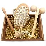 4-Piece Body Massage Set- Wooden Point Massage- Quickly Alleviate Muscle Pain for Leg,Feet,Hand,Shoulder- Feet Reflexology Stick & Hand Point Ball & Cellulite Massager- Gift Box