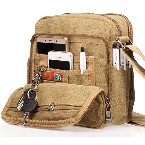 Outreo Bolso Bandolera Hombre Pequeñas Bolsos de Tela Vintage Messenger Bag para Colegio Bolsa de Lona Universidad Libro Bolsos Originales Bolsas de Viaje Sport Bag Beige