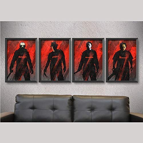 Horror movie posters,A set of 4 posters,friday the 13th print,halloween print,a nightmare on elm street print,man cave gift ideas,men gifts ()
