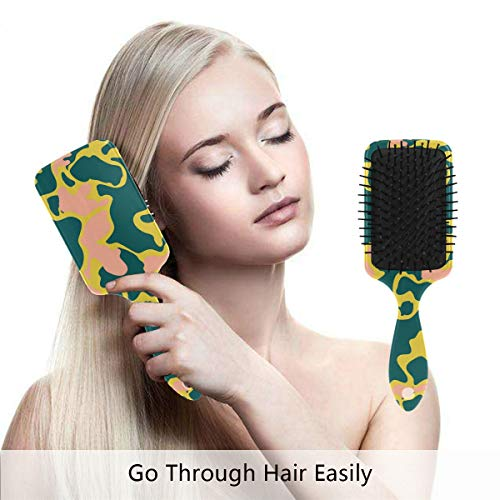 - Detangling Hairbrush for Wet, Dry, Fine, Curly, Women/Men/Kids - Massage Comb Green Pink Camo Hair Brush Air Cushion Combs Hair Straightening & Smoothing