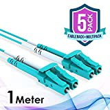 5-Pack CableRack 1m LC/LC 40/100GB Duplex 50/125 Multimode OM4 Fiber Patch Cable Aqua