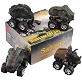 Pull Back Cars Dinosaur Toys, Satkago 4 Pieces Dino Car Toy Pull Back Vehicles with Big Tire Wheel for 3-14 Year Old Boys Girls Novelty Gifts for Kids