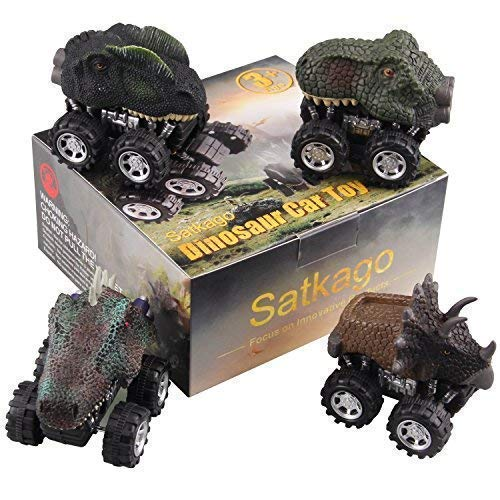 Satkago Dinosaur Toys Pull Back Car Party Favors, 4 Pcs Dino Cars Toys with Big Tire Wheel for 3-14 Year Old Boys Girls Creative Gifts for Kids
