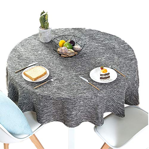 Solid Color Linen - Bettery Home Cotton Linen Solid Color Tablecloth Round Simple Style Table Cover for Kitchen Dining Tabletop Linen Decor (Dark Gray, Round - 63 Inch)