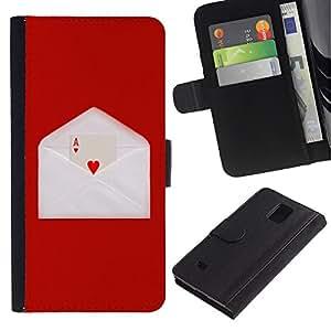 A-type (Minimalista As de Corazones) Colorida Impresión Funda Cuero Monedero Caja Bolsa Cubierta Caja Piel Card Slots Para Samsung Galaxy Note 4 IV