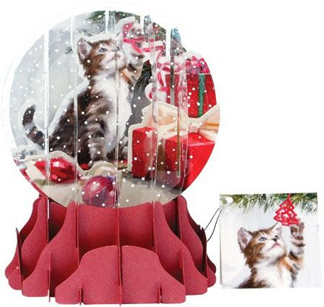 Christmas Greeting 3D Pop-Up Card Snow Globe Christmas Kitten Snowglobe Christmas Cards