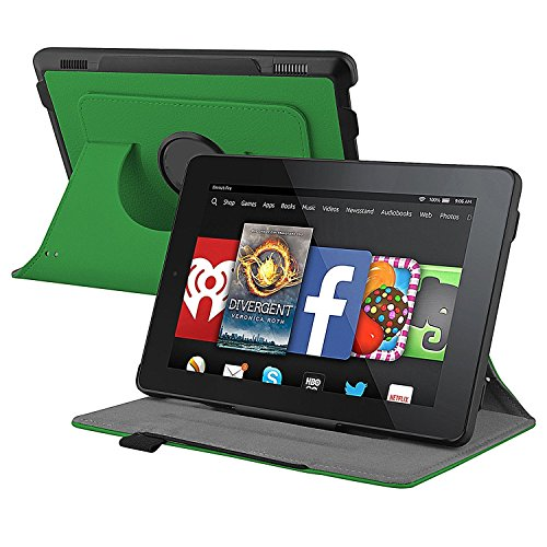 360° Swivel/Rotating Stand Leather Folio Smart Case Fits Amazon Kindle Fire HD 7