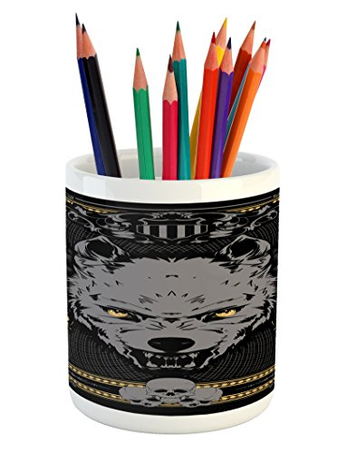 Scary Pencil Pen Holder by Lunarable, Victorian Gothic Wolf Portrait with Vintage Floral Details Wild Carnivore, Printed Ceramic Pencil Pen Holder for Desk Office Accessory, Grey Black (Vintage Mustard)