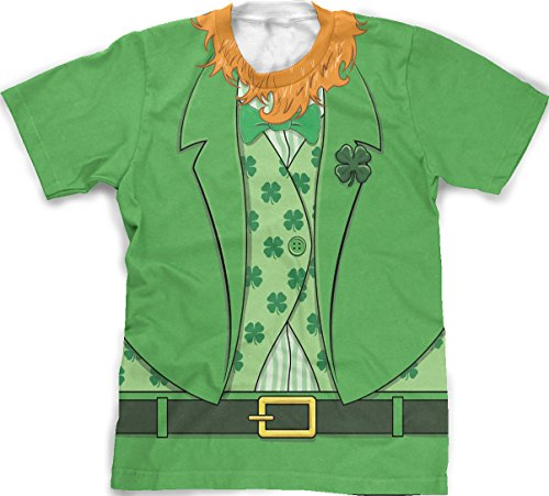 Men's bearded Leprechaun T-shirt Funny Saint Patrick's Day Irish Outfit Tee (green) XL