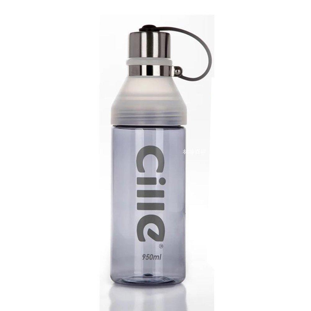 Chinashow 23 oz große Kunststoff-Sport-Wasserflasche Matt transparente auslaufsichere Wasserflasche mit Tragbares Seil [grau]