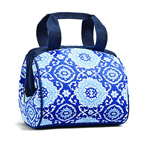 Fit & Fresh Charlotte Insulated Lunch Bag for Women, Cooler Bag Thermal Tote Bag for Work/Office/Picnic/Beach, Navy Medallion Bloom