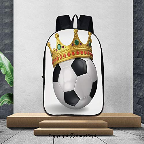 "3D Printing Student School Backpack,KingFootball Soccer Championship Inspired Ball Crown with Ornaments Image Print,16.5""x11.4""x6.3"",Suitable for school backpacks"