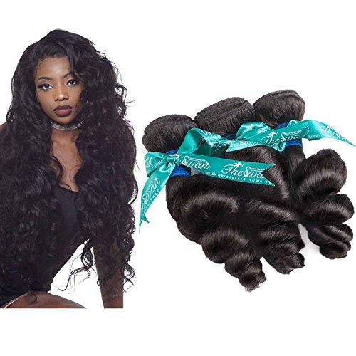 Swan Loose Wave 3 Bundles Virgin Hair 7A Brazilian Hair Natural Color Hair Extensions Unprocessed Human Hair (14″16″18″) Review