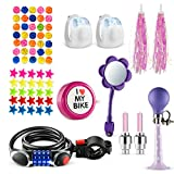 Bikes On Hikes 70 Piece Children's Bike Set Pink Purple - Includes Horn, LED Combination Chain Lock, Mirror, Bell, 2 Streamers 2 Flash Valve Sealing Caps 2 White Lights 30 Stars 30 Balls Spoke Lights