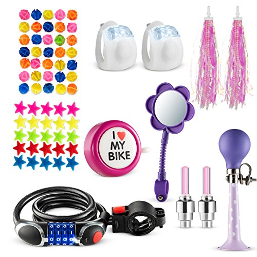 Bikes On Hikes 70 Piece Children's Bike Set Pink Purple – Includes Horn, LED Combination Chain Lock, Mirror, Bell, 2 Streamers 2 Flash Valve Sealing Caps 2 White Lights 30 Stars 30 Balls Spoke Lights
