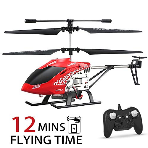 Helicopter with Remote Control, JJRC JX01 Helicopter Altitude Hold Helicopter with 2Batteries, Gyro 2.4GHz and LED Light for RTF Crash Resistance Helicopter RC Drone Toy Gift
