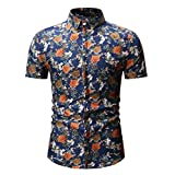 Gibobby Mens Shirts, Fashion Hawaiian Floral Print Short Sleeve Stand Collar Shirts Flower Casual T-Shirts Tops for Summer Blue