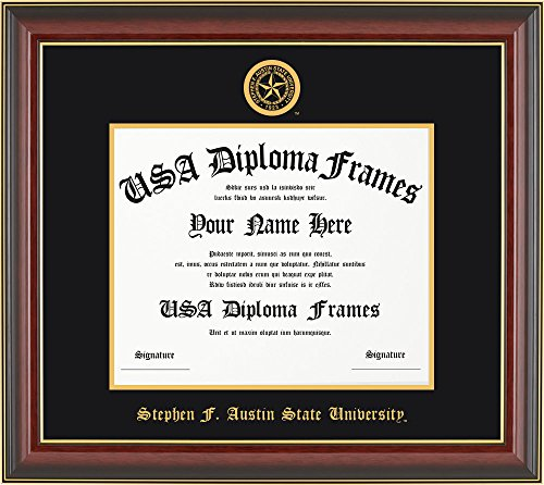Stephen F. Austin University Diploma Frame - Cherry Mahogany with Black Suede (University Cherry Wood)